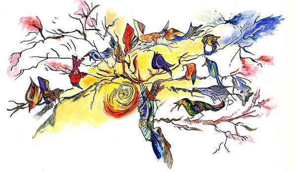 Birds Poster featuring the painting Birds On A Branch by Lily Hymen