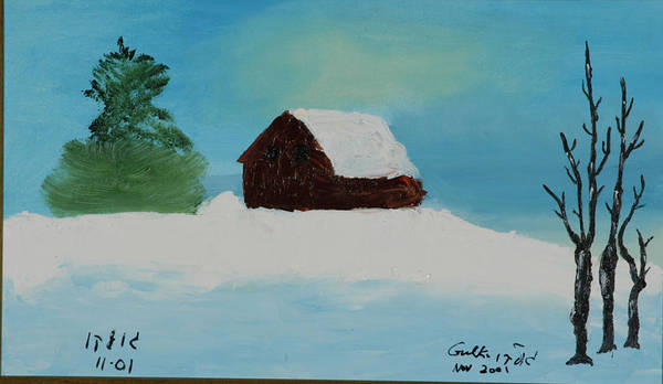 Winter Poster featuring the painting Cabin In Vermont by Harris Gulko