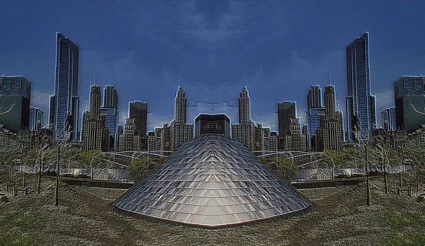 Millennium Park Poster featuring the photograph Chicago Millennium Park Bp Bridge Mirror Image by Thomas Woolworth