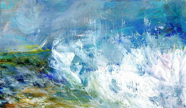 Seascape Poster featuring the painting Crashing Waves Against The Shore by Alexis Bonavitacola