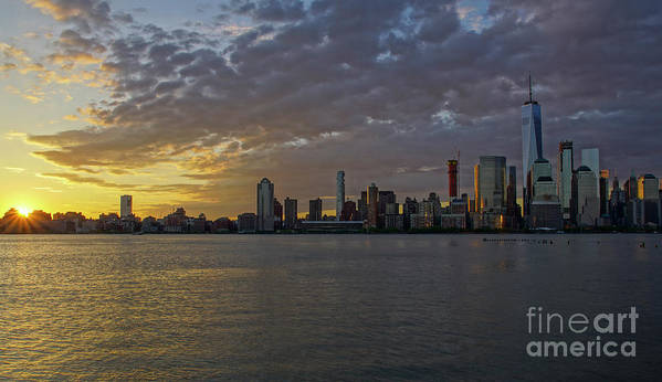 Hudson River Poster featuring the photograph Daybreak In Manahattan by Brian Kamprath