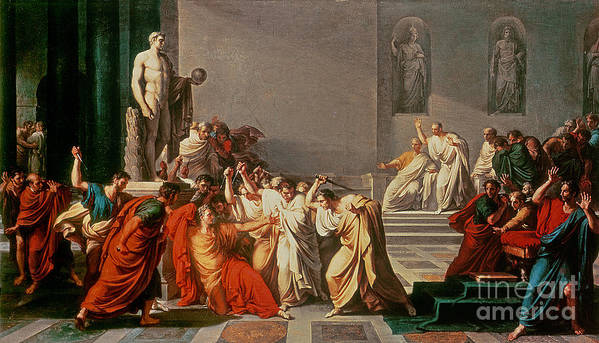 Neo-classical;roman Emperor;assassinated By Brutus;murdered;murderer;political Coup;attacking;senators;statue;gaius; Ides Of March;cassius;statesman;general;jules Cesar Poster featuring the painting Death Of Julius Caesar by Vincenzo Camuccini
