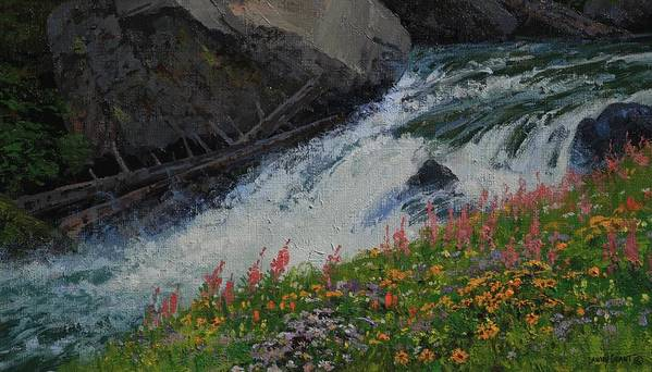 Landscape Poster featuring the painting Fireweed by Lanny Grant