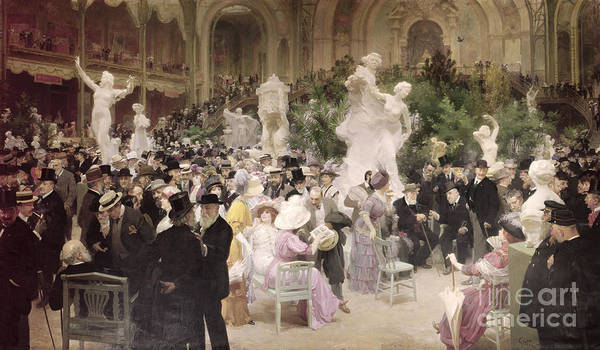 Friday At The French Artists' Salon Poster featuring the painting Friday At The Salon by Jules Alexandre Grun