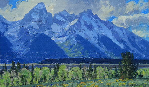 Landscape Poster featuring the painting Glacier Gulch by Lanny Grant