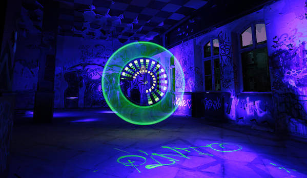 #lapp #blue #factory #fire #fireworks #light #light Painting #nightshot #spiral #hall #industrial #underground #circles #led Lenser #torch Photographs #circle #green #uv Light Poster featuring the photograph Green Circle by Gunnar Heilmann