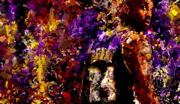 Kobe Bryant Poster featuring the painting Kobe Bryant Looking Back Signed Prints Available At Laartwork.com Coupon Code Kodak by Leon Jimenez
