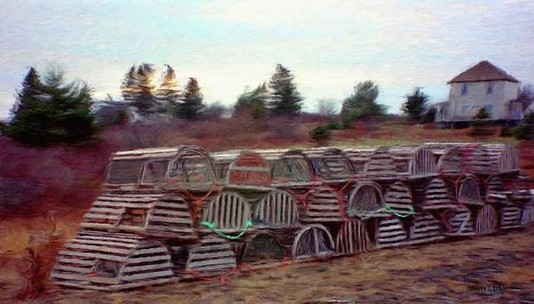 Nova Scotia Poster featuring the painting Lobster Traps by Jeff Kolker