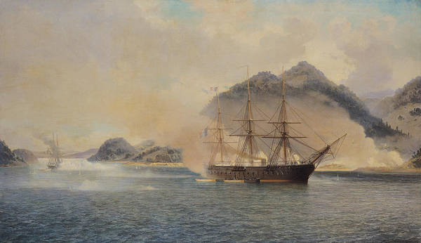 Naval Poster featuring the painting Naval Battle Of The Strait Of Shimonoseki by Jean Baptiste Henri Durand Brager