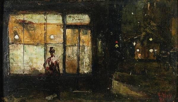 Lesser Ury 1861-1931 Parisian Boulevard At Night Poster featuring the painting Parisian Boulevard At Night by Lesser Ury