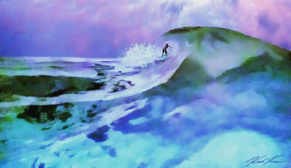 Surf Poster featuring the digital art Purple Pit by Keith Kos