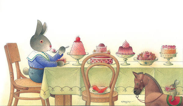 Rabbit Birthday Delicious Poster featuring the painting Rabbit Marcus The Great 10 by Kestutis Kasparavicius
