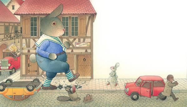 Street Town Rabbit Animal Red Car Accident Love Poster featuring the painting Rabbit Marcus The Great 19 by Kestutis Kasparavicius