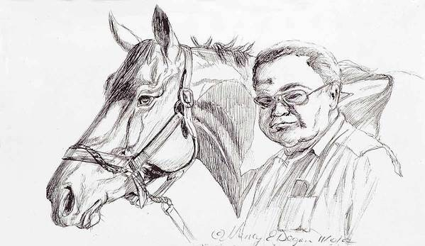 Race Horse Poster featuring the drawing Race Horse And Owner by Nancy Degan