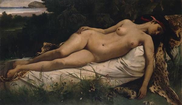 Recumbent Poster featuring the painting Recumbent Nymph by Anselm Feuerbach
