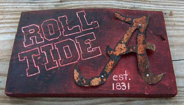 Roll Tide Poster featuring the mixed media Roll Tide Alabama by Racquel Morgan