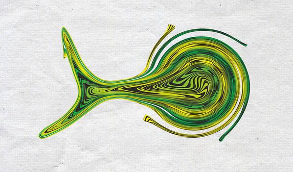 Poster featuring the digital art Saw Fish by Artem Pomelnikov