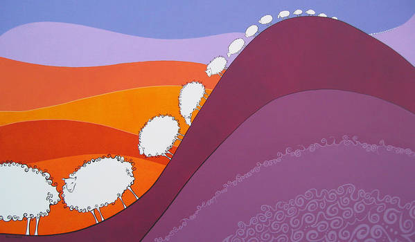 Mountains Poster featuring the painting Sheep by Patricia Van Lubeck