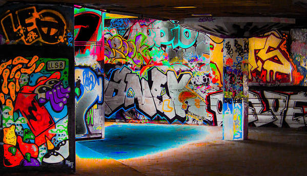 Graffiti Poster featuring the digital art Skatepark Graffiti Southbank 3 by Mo Barton