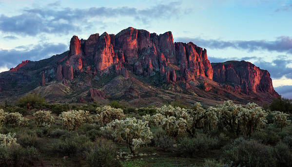 Lost Poster featuring the photograph Superstition Mountains Colors by Dave Dilli