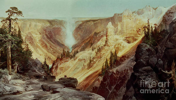 The Grand Canyon Of The Yellowstone Poster featuring the painting The Grand Canyon Of The Yellowstone by Thomas Moran