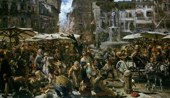 The Poster featuring the painting The Market Of Verona by Adolph Friedrich Erdmann von Menzel