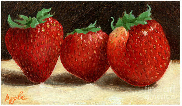 Fruit Artworkpainting Poster featuring the painting The Three Graces by Linda Apple