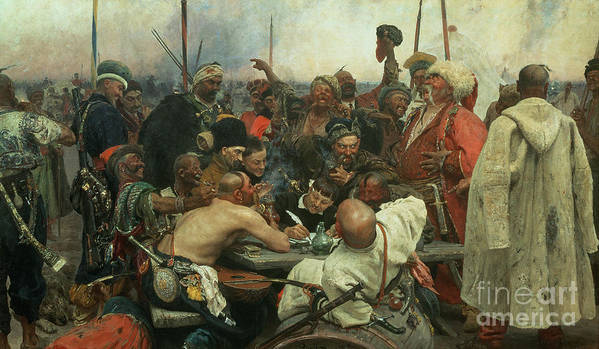 The Poster featuring the painting The Zaporozhye Cossacks Writing A Letter To The Turkish Sultan by Ilya Efimovich Repin