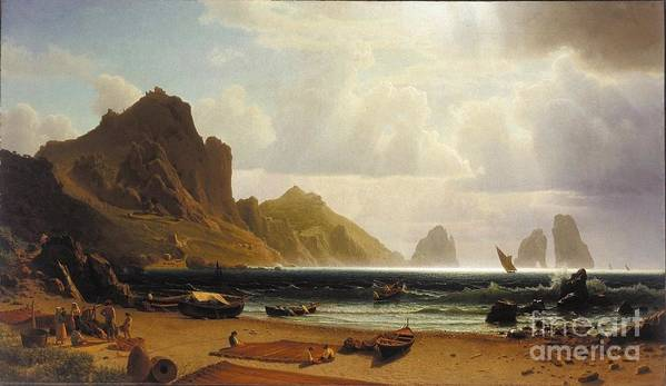 Albert_bierstadt_-_the_marina_piccola Poster featuring the painting The_marina_piccola_capri by MotionAge Designs