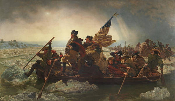 George Washington Poster featuring the painting Washington Crossing The Delaware by War Is Hell Store