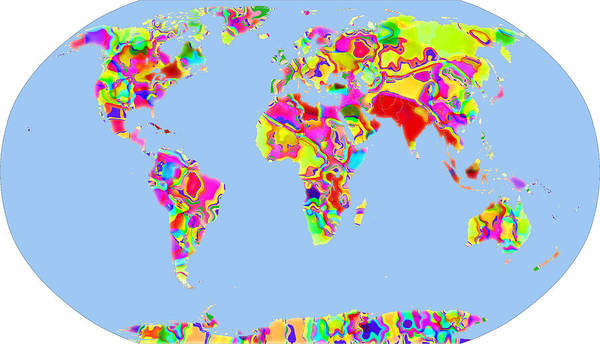 Map Of The World Poster featuring the digital art World Map Viscous by C H Apperson