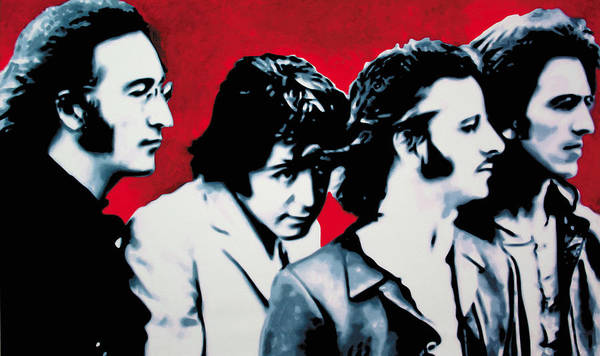 The Beatles Poster featuring the painting The Beatles by Luis Ludzska