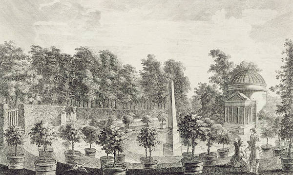 Garden Poster featuring the drawing A View Of The Orangery by Pieter Andreas Rysbrack