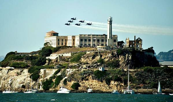 Blue Angels Poster featuring the photograph Alcatraz Blues by Benjamin Yeager