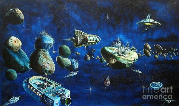 Fantasy Poster featuring the painting Asteroid City by Murphy Elliott
