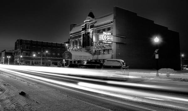 Black And White Light Painting Old City Prime Poster featuring the photograph Black And White Light Painting Old City Prime by Dan Sproul