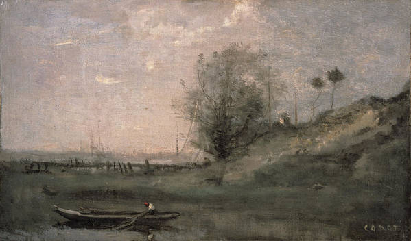 Landscape Poster featuring the painting Breakwater, Normandy by Jean Baptiste Camille Corot