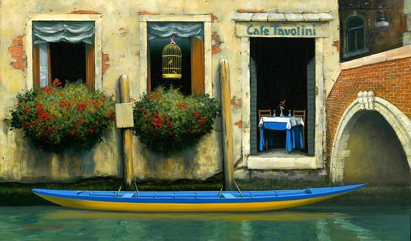 Canal And Gondola Poster featuring the painting Cafe Tavolini by Michael Swanson