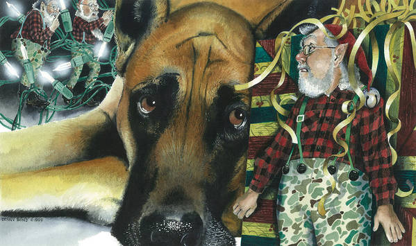 Santa Poster featuring the painting Camouflaged by Denny Bond
