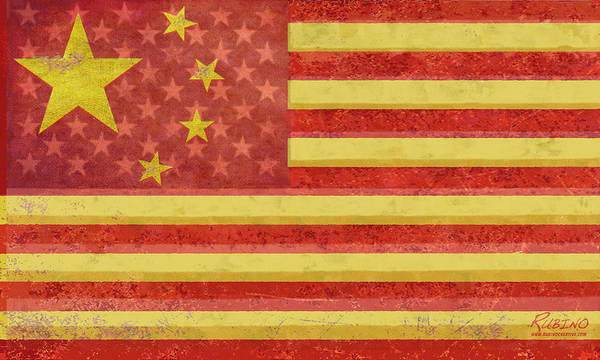 China Flag Poster featuring the painting Chinese American Flag Blend by Tony Rubino
