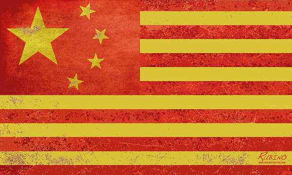 China Flag Poster featuring the painting Chinese American Flag by Tony Rubino