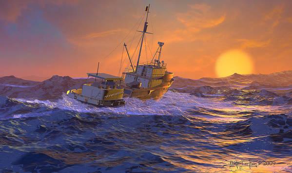 Dieter Carlton Poster featuring the digital art Climbing The Sea by Dieter Carlton