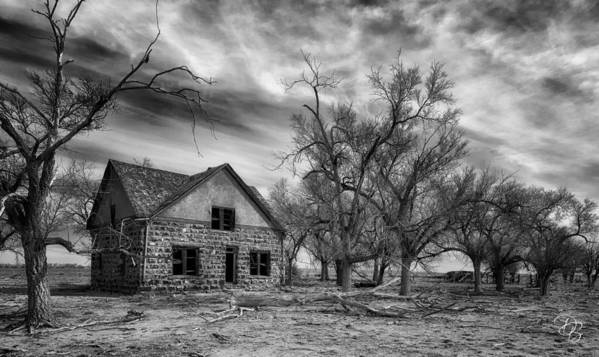 Farm House Poster featuring the photograph Dust Bowl Era Farm House by Debi Boucher