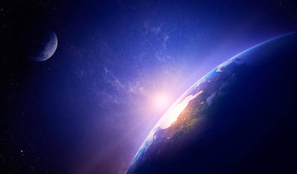 Earth Poster featuring the photograph Earth Sunrise In Foggy Space by Johan Swanepoel