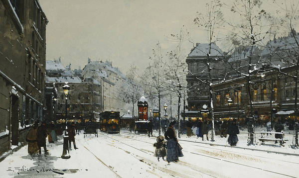 Child Poster featuring the painting Gare Du Nord Paris by Eugene Galien-Laloue