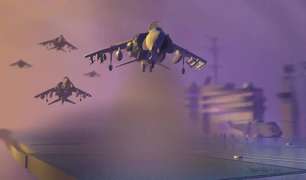 Harrier Jump Jet Poster featuring the digital art Heat Wave by Dieter Carlton