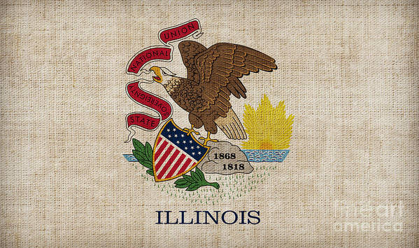 Illinois Poster featuring the painting Illinois State Flag by Pixel Chimp
