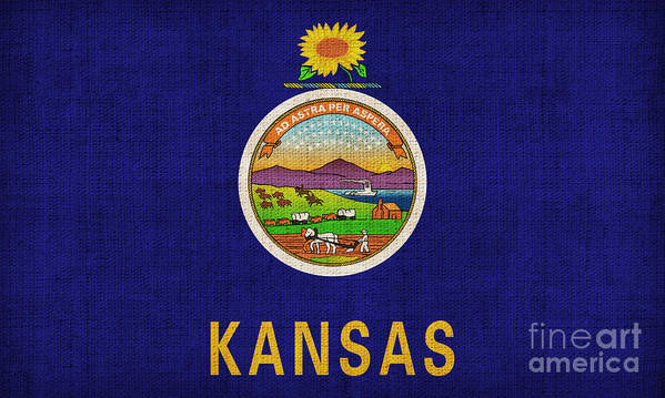 Kansas Poster featuring the painting Kansas State Flag by Pixel Chimp