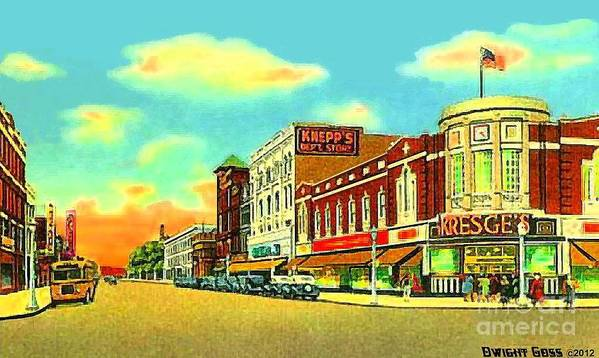 Department Stores Poster featuring the painting Knepp's And Kresge's Stores On Washington Av. In Bay City Mi 1940 by Dwight Goss