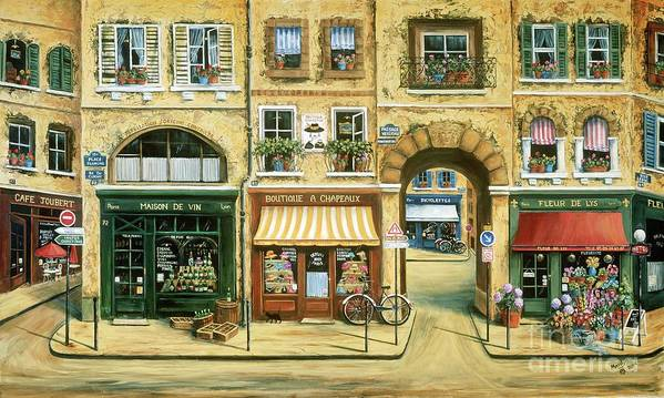 Wine Shop Poster featuring the painting Les Rues De Paris by Marilyn Dunlap